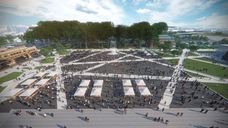 Vue aérienne de la Place Jean-Béliveau