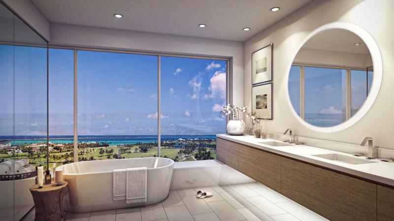 Salle de bain avec vue d'un condo PXDI Bahamas