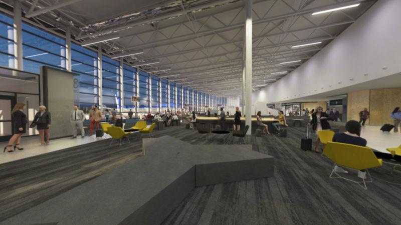 Image 3D des aires d'attente de YQB