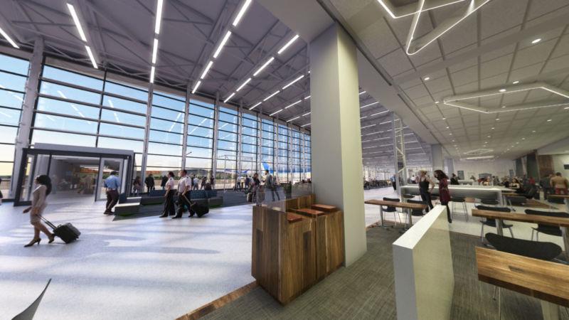 Image 3D de l'aire d'attente de l'aéroport YQB