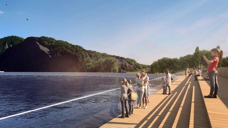 Image 3D de la rivière des Chutes Montmorency